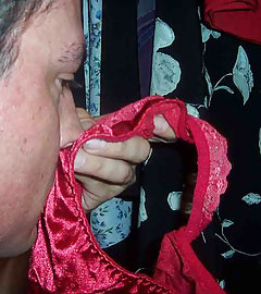 This crossdresser is a real pantie sniffer