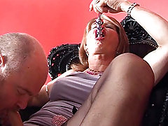 Horny tranny gets her dick sucked by a sissy