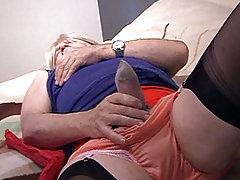 A mature pantie boy rubs his hard cock through his sexy knickers.