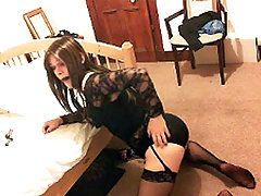 Kirsty gags her own mouth and then masturbates her TGirl cock