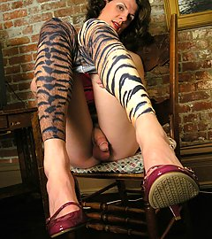 Horny tgirl with big, cummy hard-on in animalistic tights.